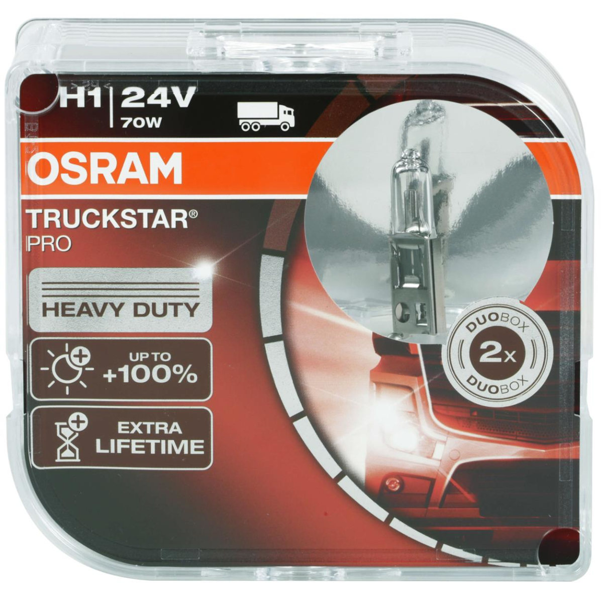 Osram H1 Truckstar Pro 64155TSP-HCB 24V headlight bulbs truck Duo Box