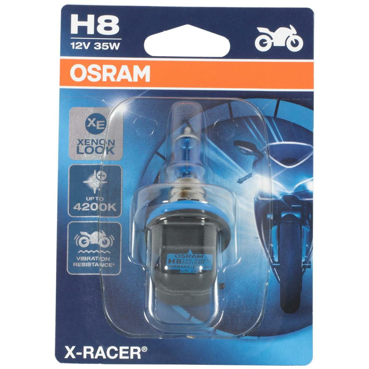 Osram 64212XR-01B X-RACER H8 Halogen motorcycle headlight lamp, single blister (1 piece)