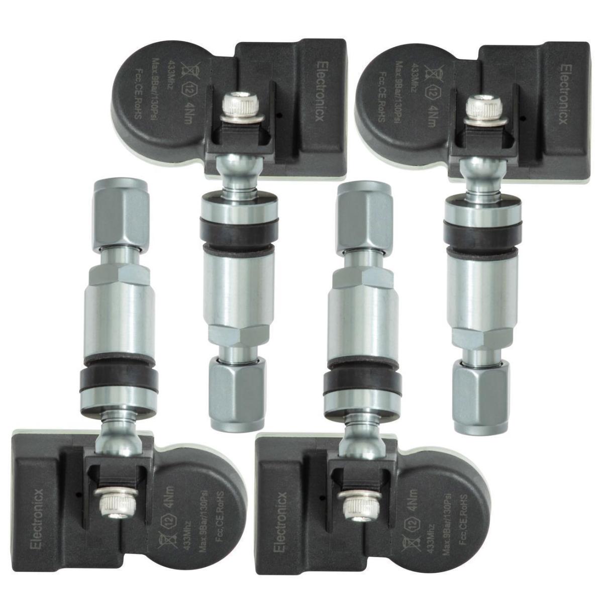 4 capteurs de pression des pneus TPMS valve métallique gris foncé pour le Mercedes Freightliner Sprinter