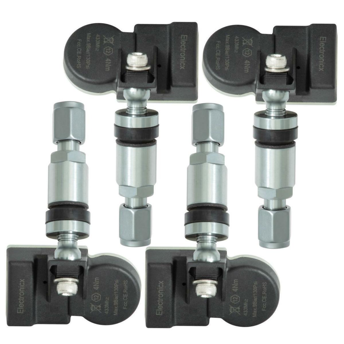 4x TPMS tire pressure sensors metal valve Darkgrey for Audi Bentley Lamborghini