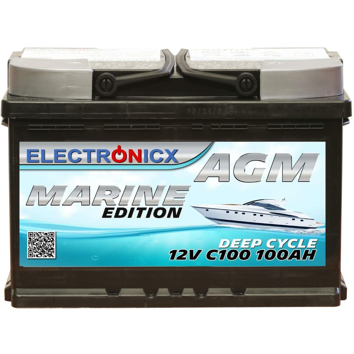 Electronicx Marine Edition Batterie AGM 100 AH 12V Boot Schiff Versorgungsbatterie