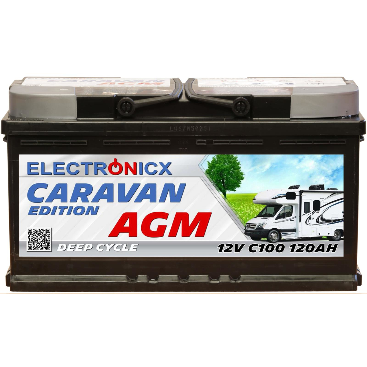 Electronicx Caravan Edition V2 Batterie AGM 120 AH 12V Wohnmobil Boot Versorgung