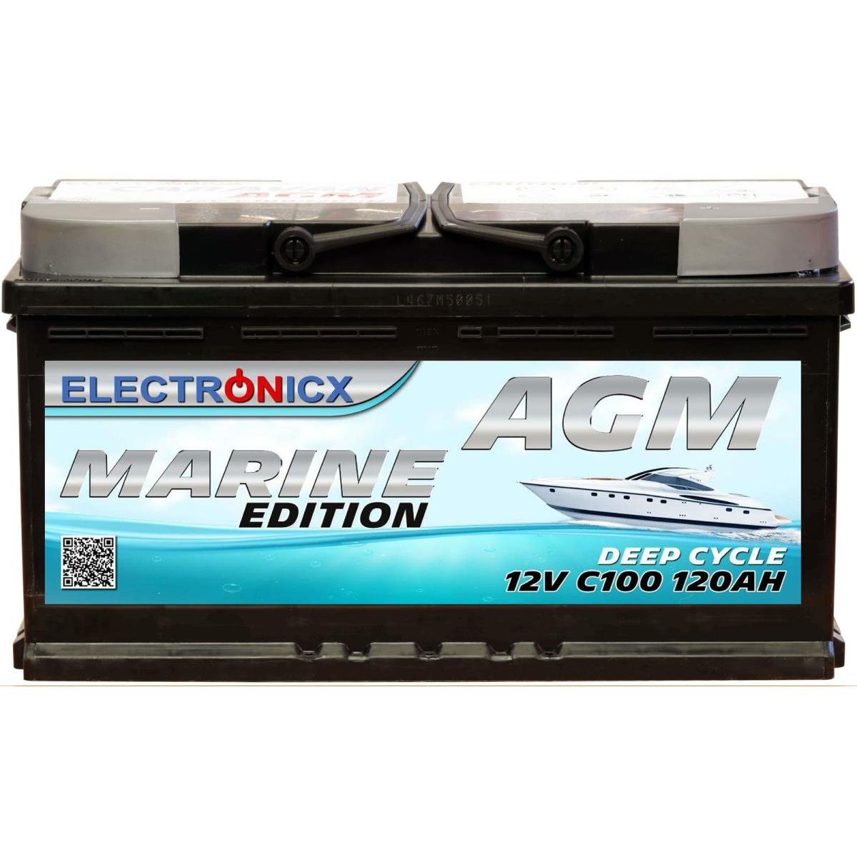 Electronicx marine edition battery agm 120 ah 12v boat ship supply battery