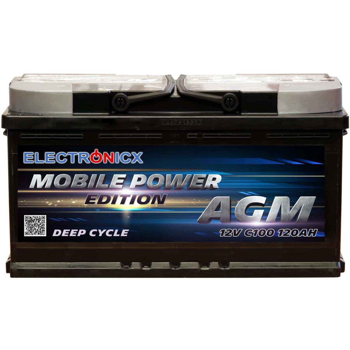 Electronicx Mobile Edition Batterie AGM 120 AH 12V Versorgungsbatterie Freizeit Akku