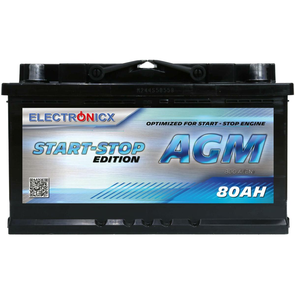 Electronicx AGM Autobatterie Starterbatterie Batterie Start-Stop 80 AH 12V 950A