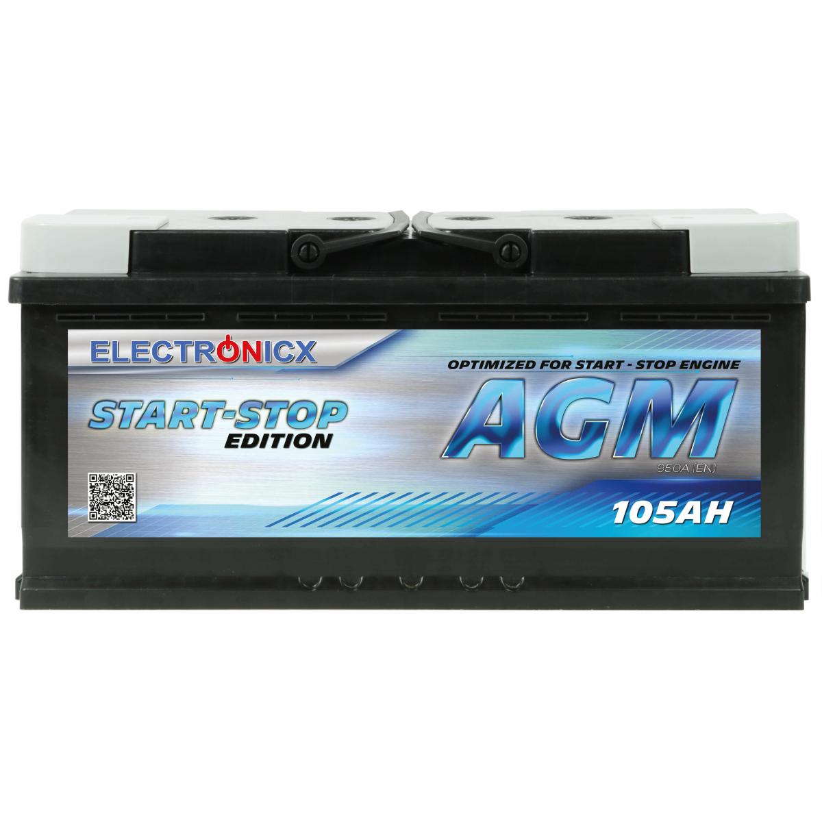 Electronicx AGM Autobatterie Starterbatterie Batterie Start-Stop 105 AH 12V 1200A