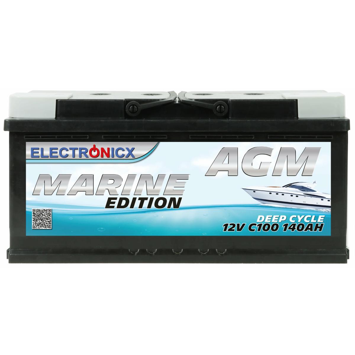 AGM Batterie 140AH Electronicx Marine Edition Boot Schiff Versorgungsbatterie 12V Akku Deep Bootsbatterie Autobatterie Solarbatterie Solar Batterien…