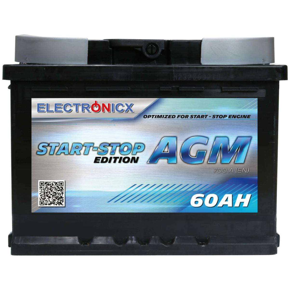 Electronicx AGM Autobatterie Starterbatterie Batterie Start-Stop 60 AH 12V 700A