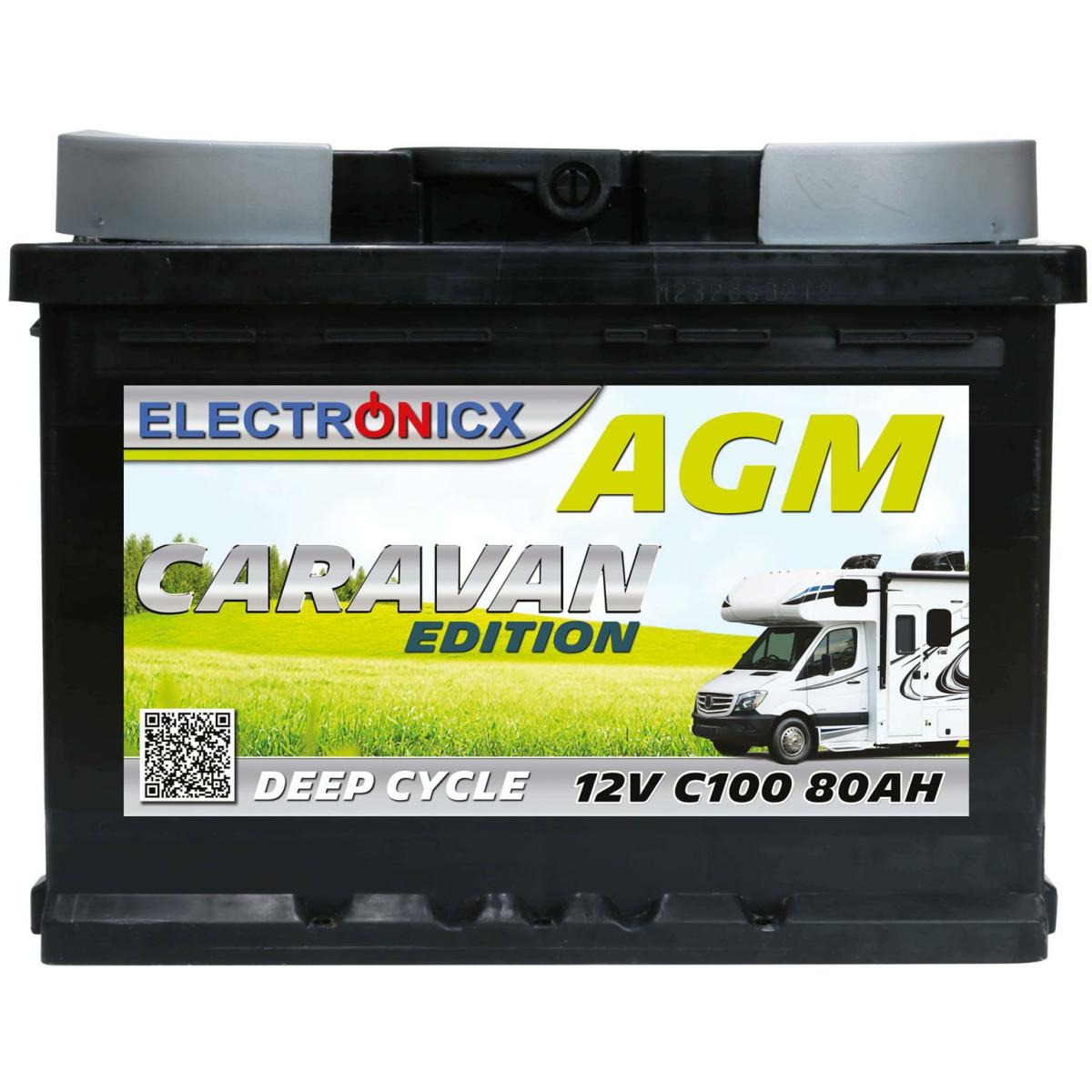 Electronicx Caravan Edition Batterie AGM 80 AH 12V Wohnmobil Boot Versorgung…