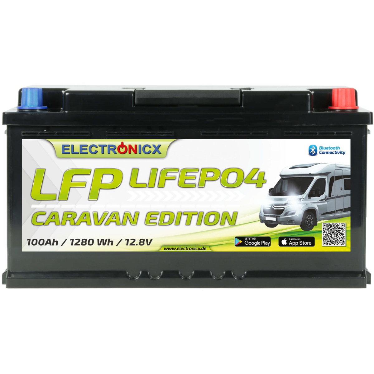 Electronicx Caravan Edition LiFePO4 Akku 12V 100Ah LFP Bluetooth APP Lithium-Eisenphosphat