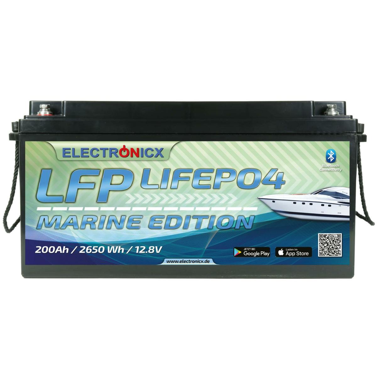 Electronicx Marine Edition LiFePO4 2560Wh 200Ah LFP Bluetooth APP Lithium-Eisenphosphat
