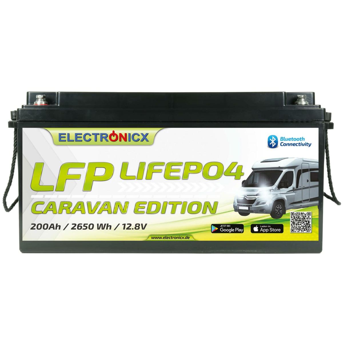 Electronicx Caravan Edition LiFePO4 2560Wh 200Ah LFP Bluetooth APP Lithium-Eisenphosphat