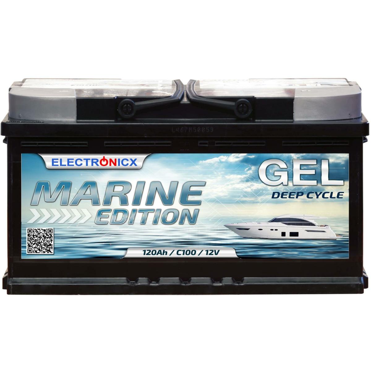 Electronicx Marine Edition Gel Batterie 120 AH 12V Boot Schiff Versorgungsbatterie