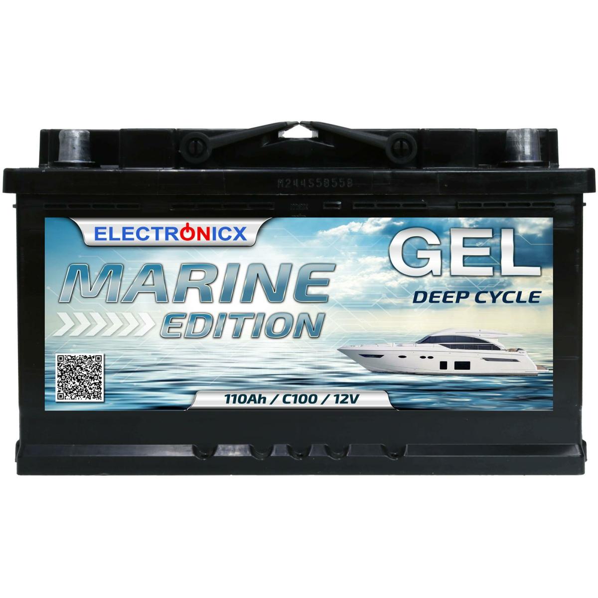 GEL Batterie 110AH Electronicx Marine Edition Boot Schiff Versorgungsbatterie 12V Akku Deep Bootsbatterie Autobatterie Solarbatterie Solar Batterien…