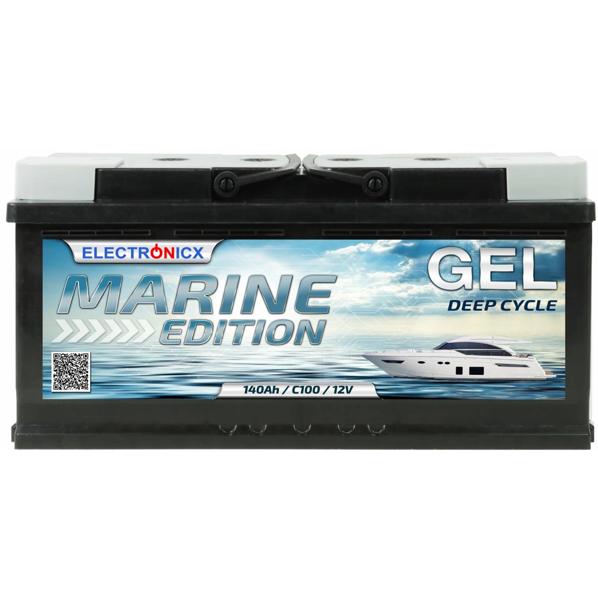 GEL Batterie 140AH Electronicx Marine Edition Boot Schiff Versorgungsbatterie 12V Akku Deep Bootsbatterie Autobatterie Solarbatterie Solar Batterien…