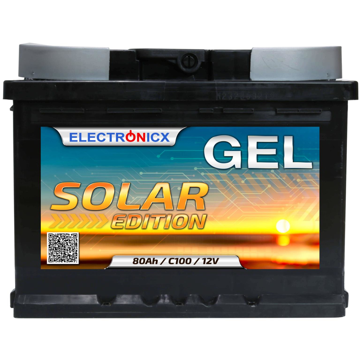 Solar battery 12v 80ah Electronicx Solar Edition gel battery solar battery supply battery power storage photovoltaic camping solar system garden..