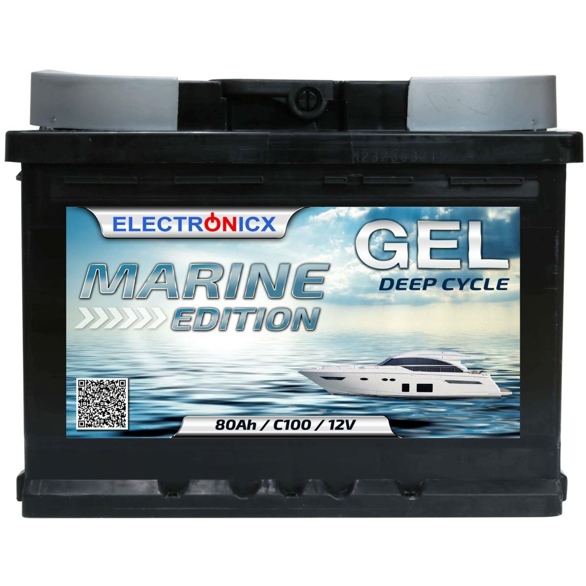 GEL Batterie 80AH Electronicx Marine Edition Boot Schiff Versorgungsbatterie 12V Akku Deep Bootsbatterie Autobatterie Solarbatterie Solar Batterien…