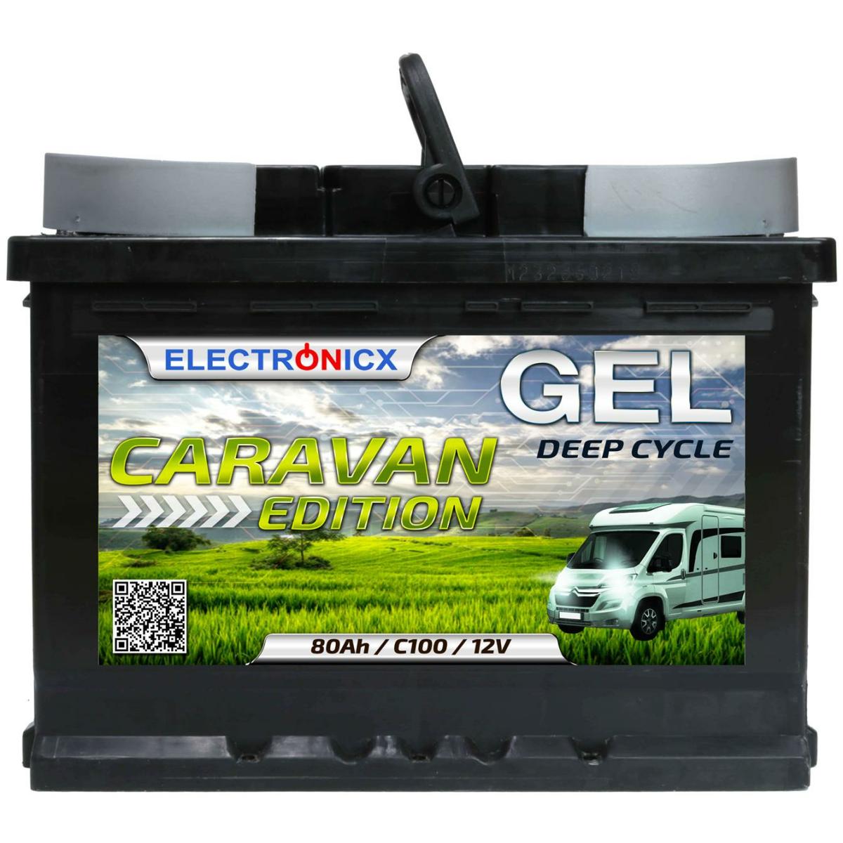 Electronicx Caravan Edition Gel Batterie 80 AH 12V Wohnmobil Boot Versorgung