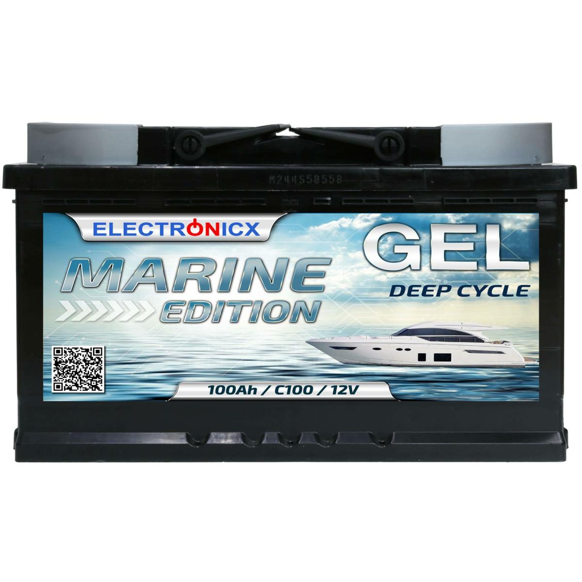 Electronicx Marine Edition GEL Batterie 100 AH 12V Boot Schiff Versorgungsbatterie